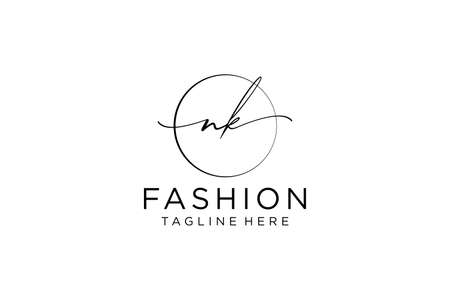 NK Feminine logo beauty monogram and elegant logo design, handwriting logo of initial signature, wedding, fashion, floral and botanical with creative template. Logo