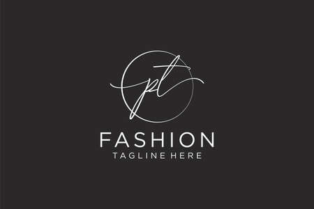PT Feminine logo beauty monogram and elegant logo design, handwriting logo of initial signature, wedding, fashion, floral and botanical with creative template.