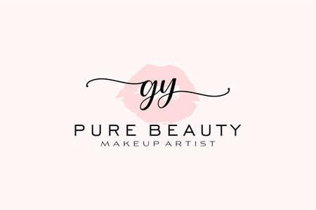 GY Watercolor Lips Premade Logo Design, Logo for Makeup Artist Business Branding, Blush Beauty Boutique Logo Design, Calligraphy Logo with creative template.