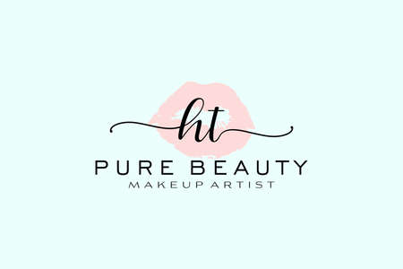 HT Watercolor Lips Premade Logo Design, Logo for Makeup Artist Business Branding, Blush Beauty Boutique Logo Design, Calligraphy Logo with creative template. Logó
