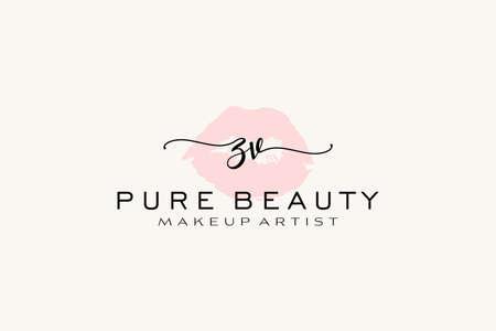 ZV Watercolor Lips Premade Logo Design, Logo for Makeup Artist Business Branding, Blush Beauty Boutique Logo Design, Calligraphy Logo with creative template.