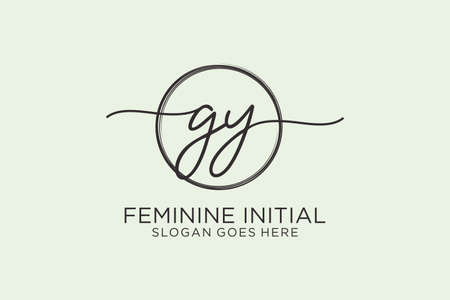 GY handwriting logo with circle template vector logo of initial signature, wedding, fashion, floral and botanical with creative template.
