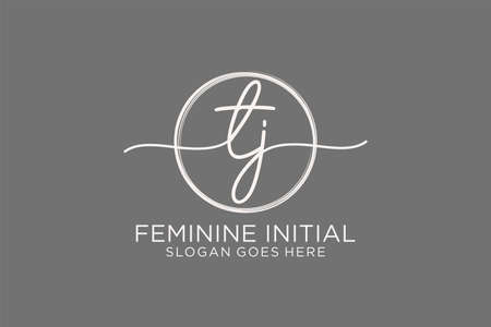 TZ handwriting logo with circle template vector logo of initial signature, wedding, fashion, floral and botanical with creative template. Logó