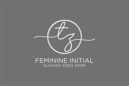 TZ handwriting logo with circle template vector logo of initial signature, wedding, fashion, floral and botanical with creative template.