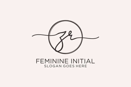 ZR handwriting logo with circle template vector logo of initial signature, wedding, fashion, floral and botanical with creative template.