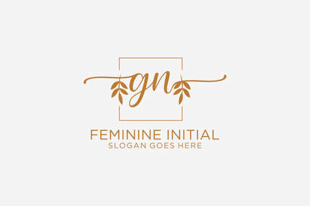 GN beauty monogram and elegant logo design handwriting logo of initial signature, wedding, fashion, floral and botanical with creative template.