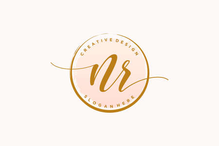 NR handwriting logo with circle template vector signature, wedding, fashion, floral and botanical with creative template. Logó