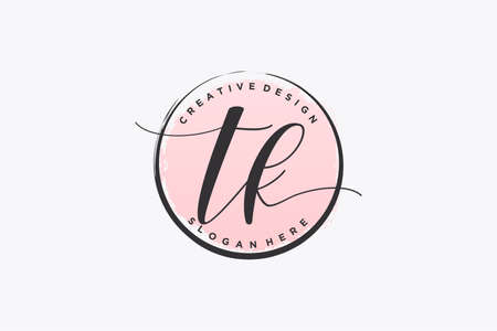 TK handwriting logo with circle template vector signature, wedding, fashion, floral and botanical with creative template.