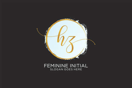 HZ handwriting logo with circle template vector signature, wedding, fashion, floral and botanical with creative template.