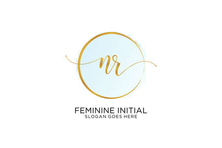 NR handwriting logo with circle template vector signature, wedding, fashion, floral and botanical with creative template.
