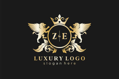ZE Letter Lion Royal Luxury Logo template in vector art for Restaurant, Royalty, Boutique, Cafe, Hotel, Heraldic, Jewelry, Fashion and other vector illustration.
