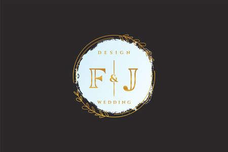FJ beauty monogram and elegant logo design handwriting logo of initial signature, wedding, fashion, floral and botanical with creative template. Logó