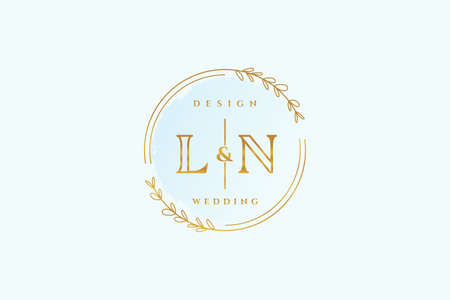 LN beauty monogram and elegant logo design handwriting logo of initial signature, wedding, fashion, floral and botanical with creative template.