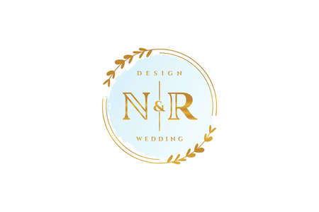 NR beauty monogram and elegant logo design handwriting logo of initial signature, wedding, fashion, floral and botanical with creative template.