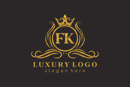 FK Letter Royal Luxury Logo template in vector art for Restaurant, Royalty, Boutique, Cafe, Hotel, Heraldic, Jewelry, Fashion and other vector illustration. Logó