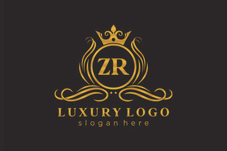 ZR Letter Royal Luxury Logo template in vector art for Restaurant, Royalty, Boutique, Cafe, Hotel, Heraldic, Jewelry, Fashion and other vector illustration. Logó
