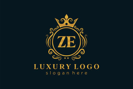 ZE Letter Royal Luxury Logo template in vector art for Restaurant, Royalty, Boutique, Cafe, Hotel, Heraldic, Jewelry, Fashion and other vector illustration. Logo