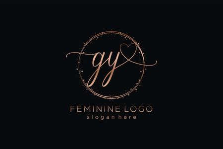 GY handwriting logo with circle template vector logo of initial wedding, fashion, floral and botanical with creative template. Logó