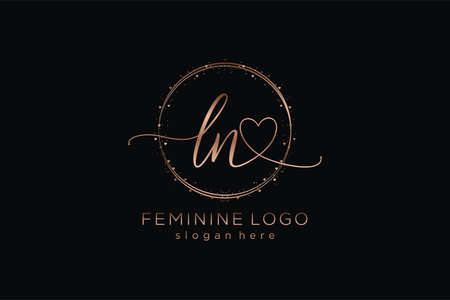 LN handwriting logo with circle template vector logo of initial wedding, fashion, floral and botanical with creative template.