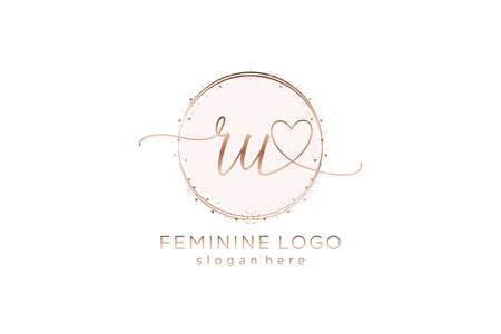 RU handwriting logo with circle template vector logo of initial wedding, fashion, floral and botanical with creative template.