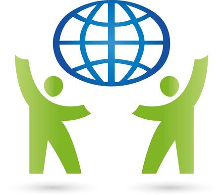 duas pessoas: Duas Pessoas e globo, parceria Ilustração