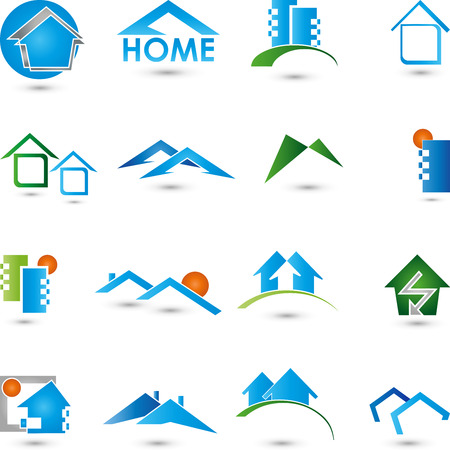 logo batiment: Immobilier logos Collection Maison Illustration