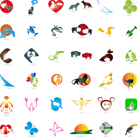 bull snake: Large animal collection icons Illustration