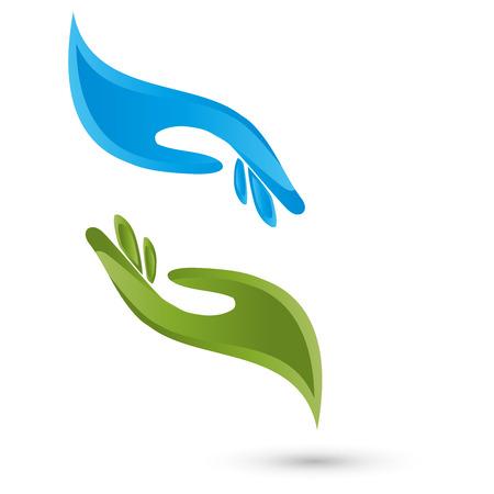 2 つの手のロゴ  イラスト・ベクター素材