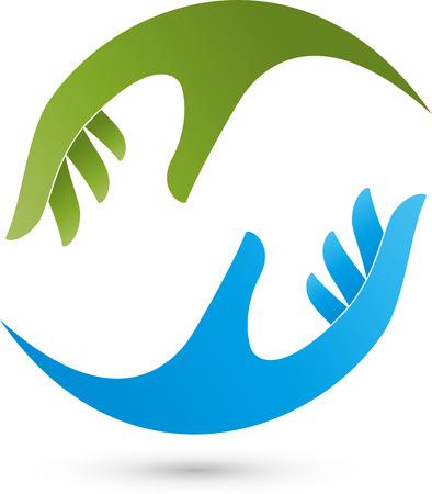 logo medicina: Dos manos, Masajes, Bienestar