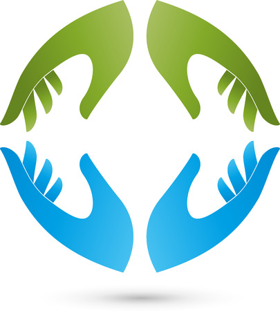 nursing associations: Four hands Logo Illustration