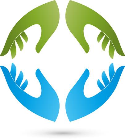 Four hands Logo Stock Illustratie