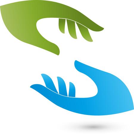 medizin logo: Zwie Händen Logo Illustration