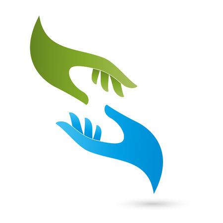 Dos manos logotipo, cuidado pastoral, masaje Foto de archivo - 43688171