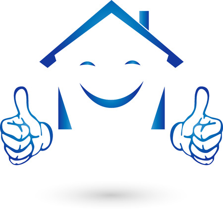house logo: Real Estate Logo, house with hands, smile