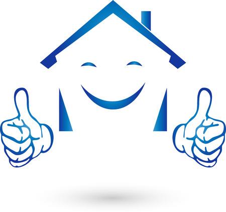 Real Estate Logo, huis met handen, glimlach Stock Illustratie