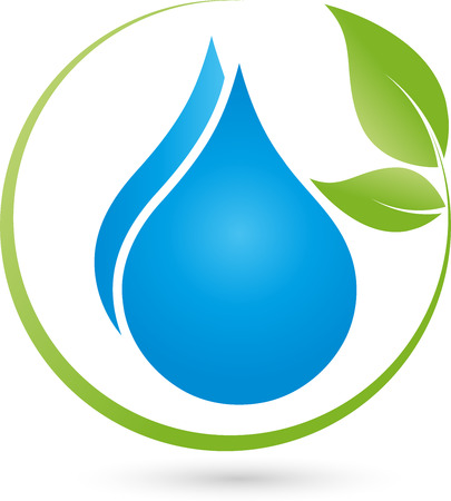 treatment plant: Two drops and leaves, logo, cosmetics, wellness Illustration