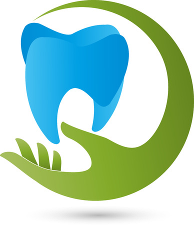 tooth pain: Hand with tooth logo dentist Illustration