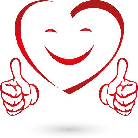 Corazón con las manos, corazón, sonrisa, logotipo