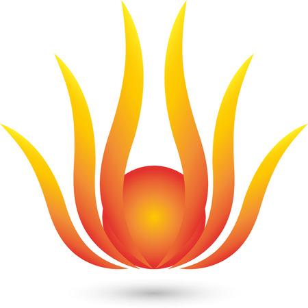 copywriter: Fire Flower Logo, plant, sun