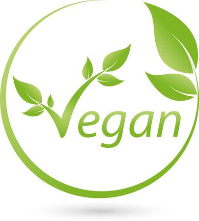 Vegetarian symbol with scrolling, Vegan, Logo