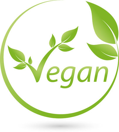 Vegetarian symbol with scrolling, Vegan, Logo