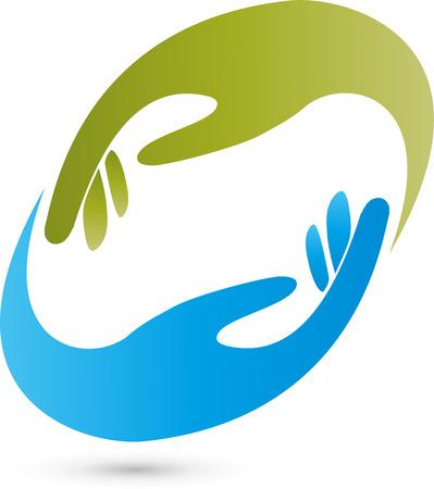 2 つの手、ロゴ、マッサージ