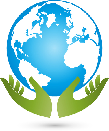 environmental policy: Earth and hands, globe, world globe, vector