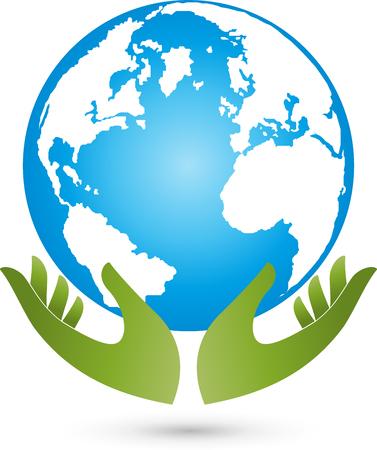environmental policy: Earth and hands, globe, world globe, vector