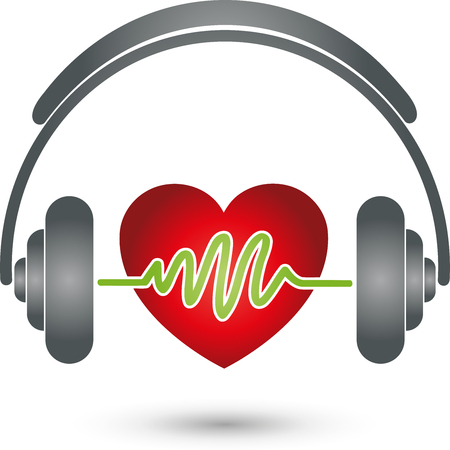 logo music: Headphones and heart, music Logo, Sound