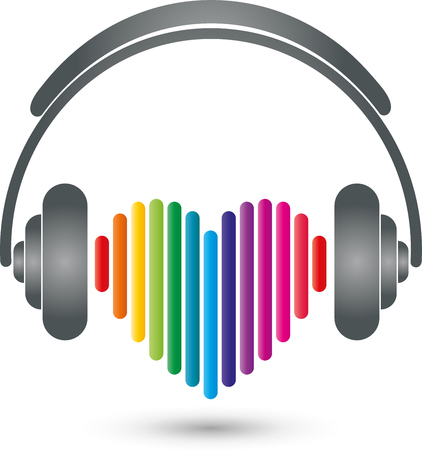 music logo: Headphones, heart, music Logo, Sound
