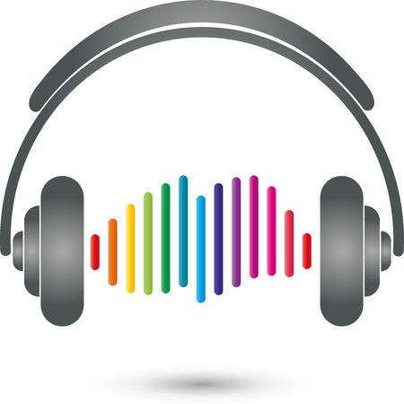 music logo: Equalizers, headphones, music Logo, Sound