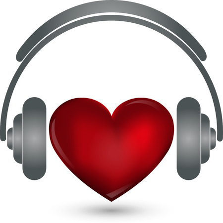 logo music: Heart and headphones, music Logo, Sound