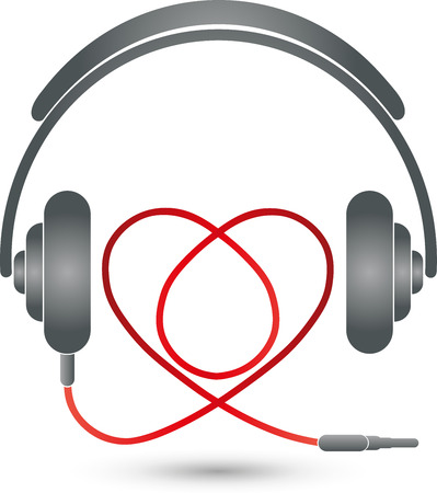 logo musique: Headphones and heart, music Logo, music love