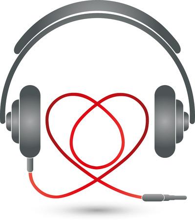 music logo: Headphones and heart, music Logo, music love